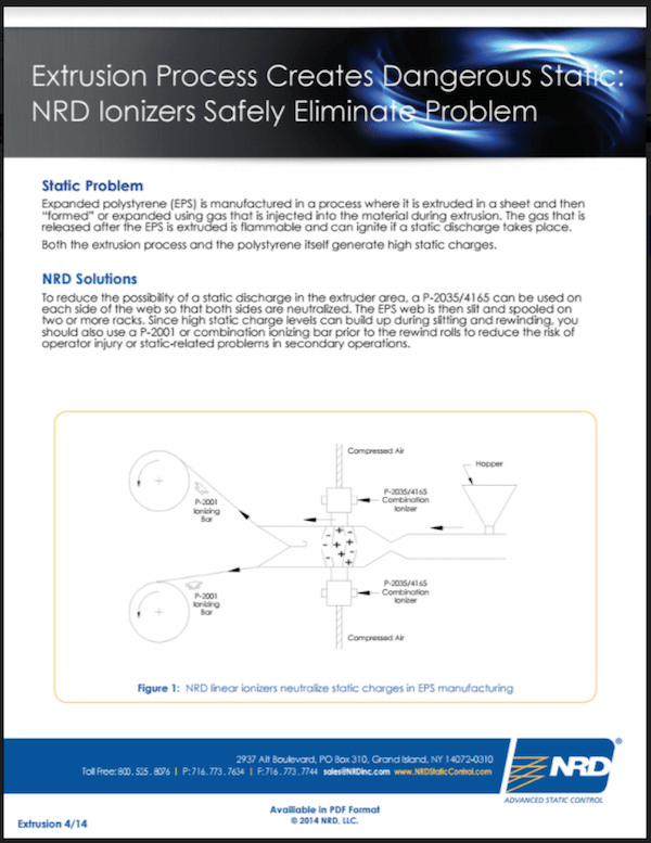 Extrusion Process Creates Dangerous Static: NRD Ionizers Safely Eliminate Problem
